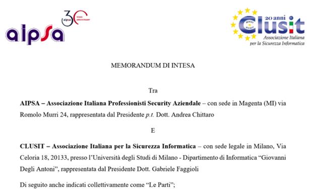 Accordo AIPSA-CLUSIT: Al via alleanza per promuove...
